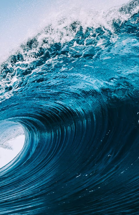 close up of cresting wave